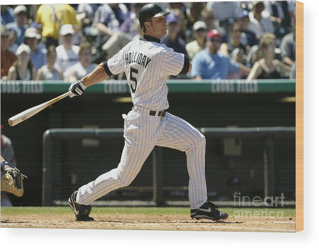Motion Wood Print featuring the photograph Matt Holliday by Brian Bahr
