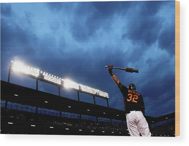 American League Baseball Wood Print featuring the photograph Matt Wieters by Patrick Smith