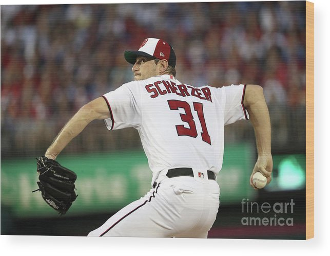 Three Quarter Length Wood Print featuring the photograph Max Scherzer by Patrick Smith