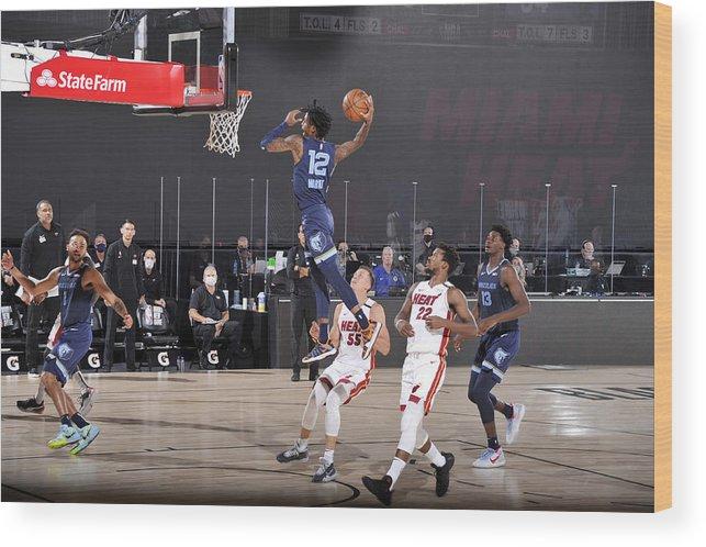 Nba Pro Basketball Wood Print featuring the photograph Memphis Grizzlies v Miami Heat by Joe Murphy