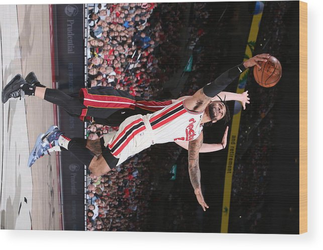 Nba Pro Basketball Wood Print featuring the photograph Miami Heat v Portland Trail Blazers by Sam Forencich