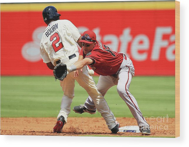 Atlanta Wood Print featuring the photograph Michael Bourn and Nick Ahmed by Daniel Shirey