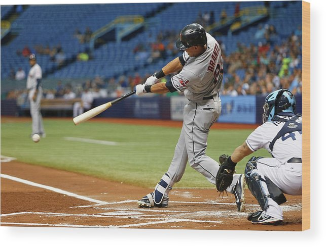 Baseball Catcher Wood Print featuring the photograph Michael Brantley, Rene Rivera, and Jason Kipnis by Brian Blanco