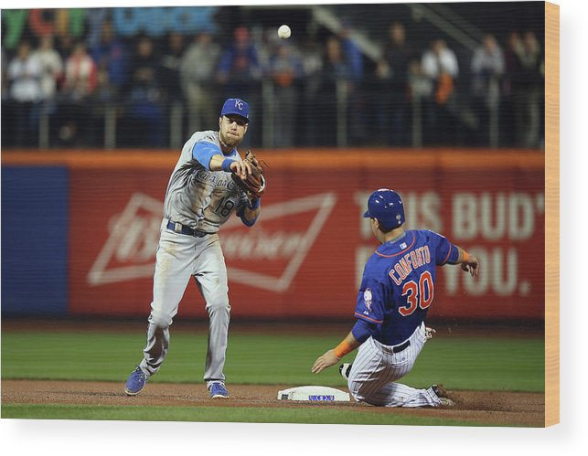 Playoffs Wood Print featuring the photograph Michael Conforto and Ben Zobrist by Brad Mangin