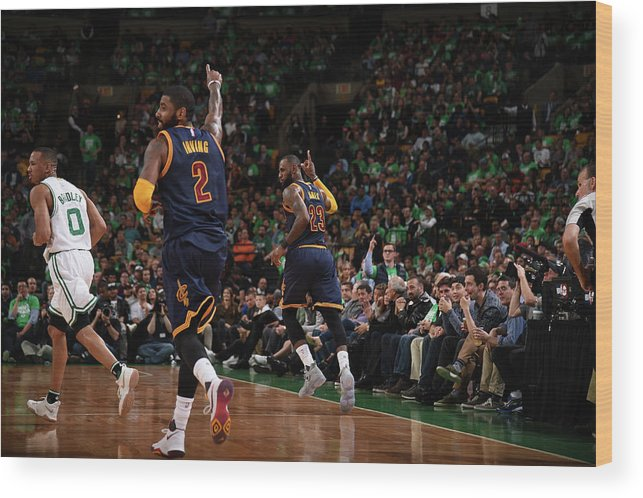 Playoffs Wood Print featuring the photograph Michael Jordan and Lebron James by Brian Babineau