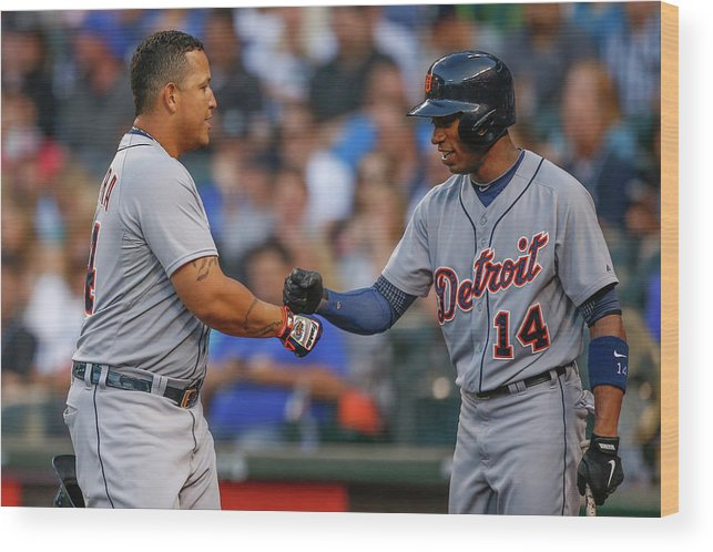 American League Baseball Wood Print featuring the photograph Miguel Cabrera and Austin Jackson by Otto Greule Jr