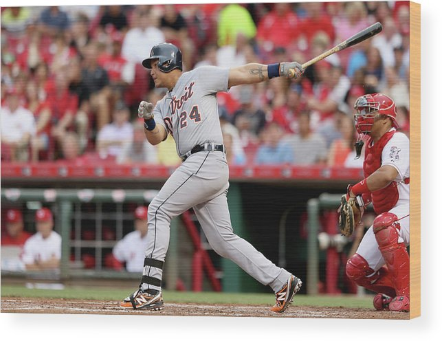 Great American Ball Park Wood Print featuring the photograph Miguel Cabrera by Andy Lyons