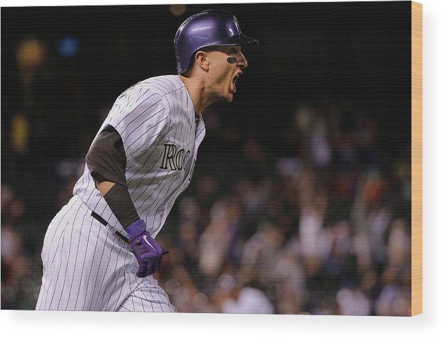 Mike Bolsinger Wood Print featuring the photograph Mike Bolsinger and Troy Tulowitzki by Doug Pensinger