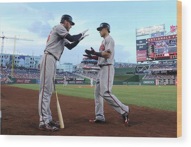 Second Inning Wood Print featuring the photograph Mike Foltynewicz and Jace Peterson by Greg Fiume