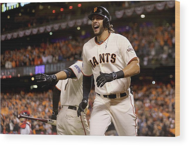 Playoffs Wood Print featuring the photograph Mike Morse by Christian Petersen