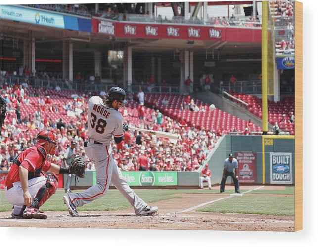 Great American Ball Park Wood Print featuring the photograph Mike Morse by Joe Robbins