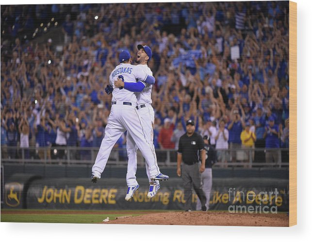 People Wood Print featuring the photograph Mike Moustakas and Eric Hosmer by Ed Zurga