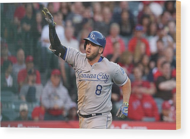 Three Quarter Length Wood Print featuring the photograph Mike Moustakas by Stephen Dunn