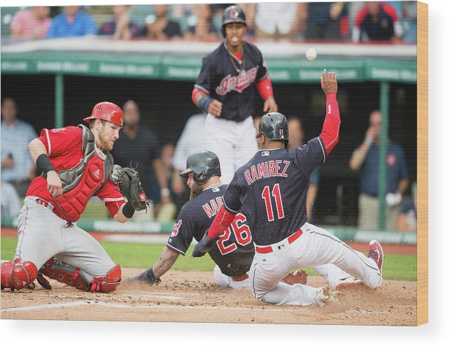 Baseball Catcher Wood Print featuring the photograph Mike Napoli, Lonnie Chisenhall, and Jett Bandy by Jason Miller