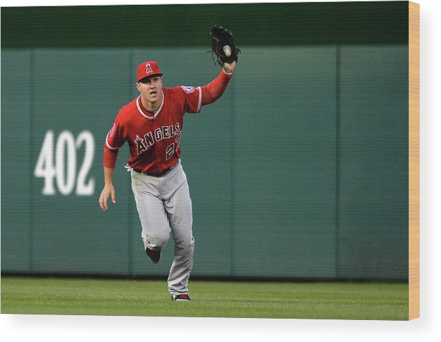 Mike Trout Wood Print featuring the photograph Mike Trout and Bryce Harper by Patrick Smith