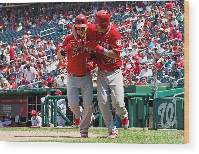 People Wood Print featuring the photograph Mike Trout and Kole Calhoun by Patrick Mcdermott