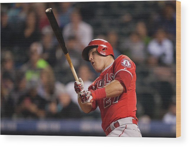 Three Quarter Length Wood Print featuring the photograph Mike Trout by Dustin Bradford