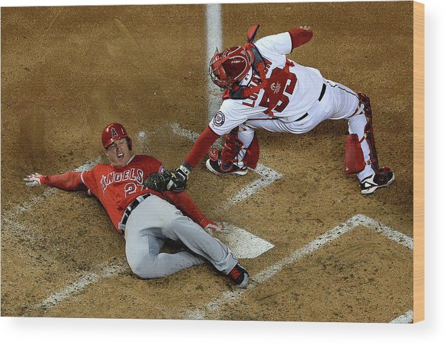 Baseball Catcher Wood Print featuring the photograph Mike Trout by Patrick Smith