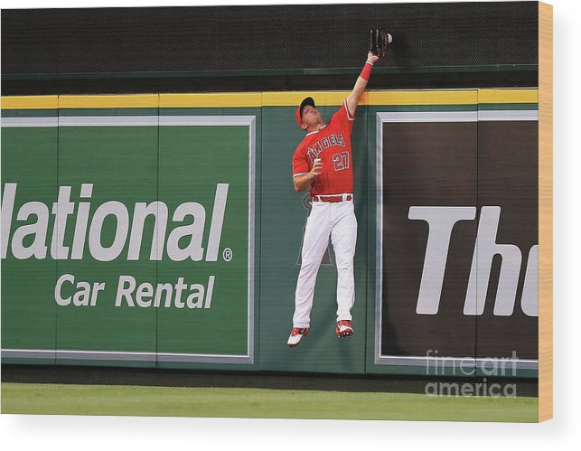 People Wood Print featuring the photograph Mike Trout by Sean M. Haffey