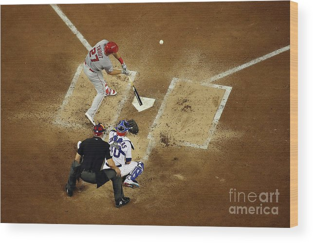 People Wood Print featuring the photograph Mike Trout by Win Mcnamee