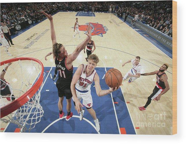 Nba Pro Basketball Wood Print featuring the photograph Mindaugas Kuzminskas by Nathaniel S. Butler