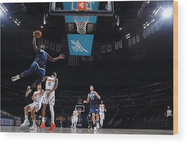 Nba Pro Basketball Wood Print featuring the photograph Minnesota Timberwolves v Denver Nuggets by Bart Young