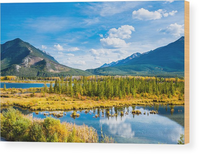 Tranquility Wood Print featuring the photograph Minnewanka lake in Canadian Rockies in Banff Alberta Canada by WanRu Chen