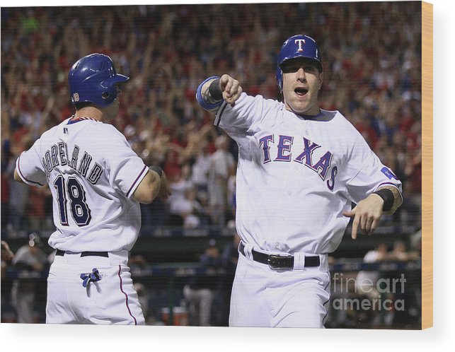 Playoffs Wood Print featuring the photograph Mitch Moreland, Josh Hamilton, and Vladimir Guerrero by Elsa