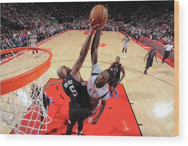 Nba Pro Basketball Wood Print featuring the photograph Montrezl Harrell and Marreese Speights by Bill Baptist
