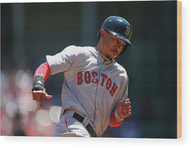 People Wood Print featuring the photograph Mookie Betts by Ronald Martinez