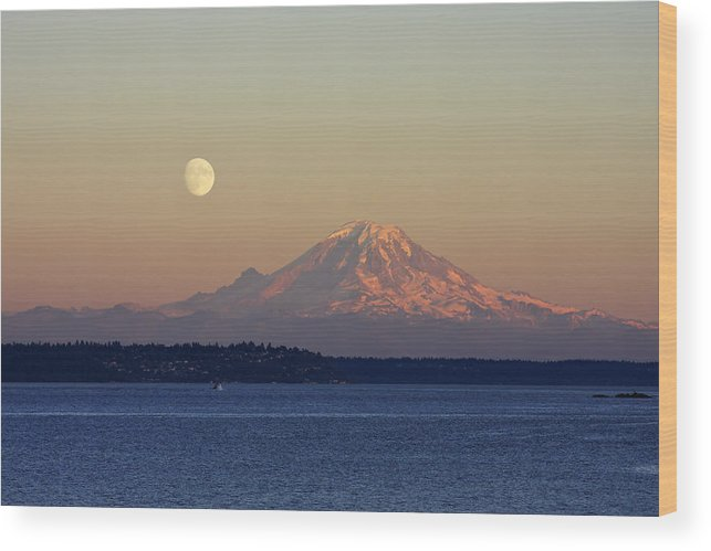 3scape Wood Print featuring the photograph Moon Over Rainier by Adam Romanowicz