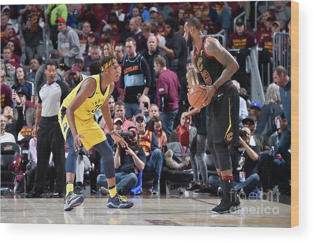 Playoffs Wood Print featuring the photograph Myles Turner and Lebron James by David Liam Kyle