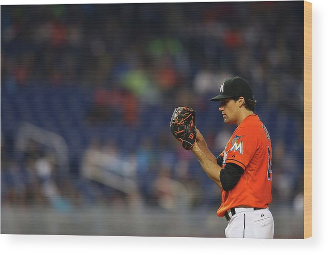American League Baseball Wood Print featuring the photograph Nathan Eovaldi by Mike Ehrmann