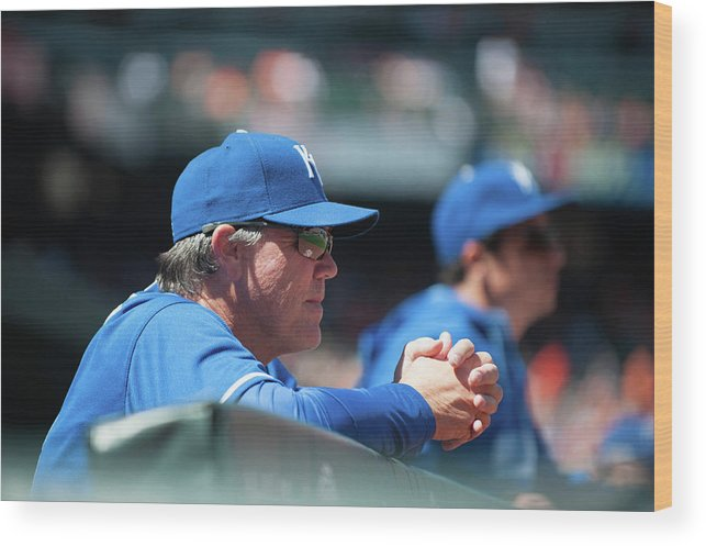 American League Baseball Wood Print featuring the photograph Ned Yost by Rob Tringali