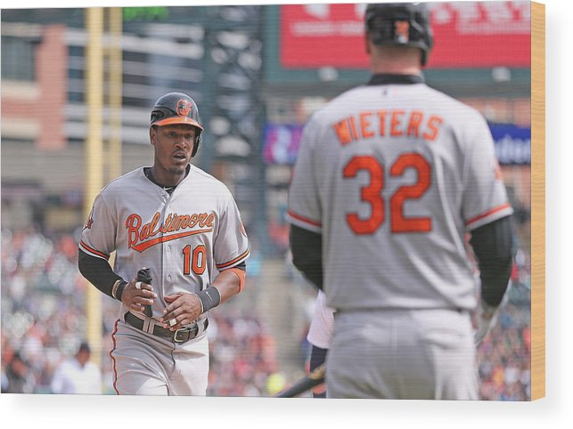 American League Baseball Wood Print featuring the photograph Nelson Cruz and Adam Jones by Leon Halip