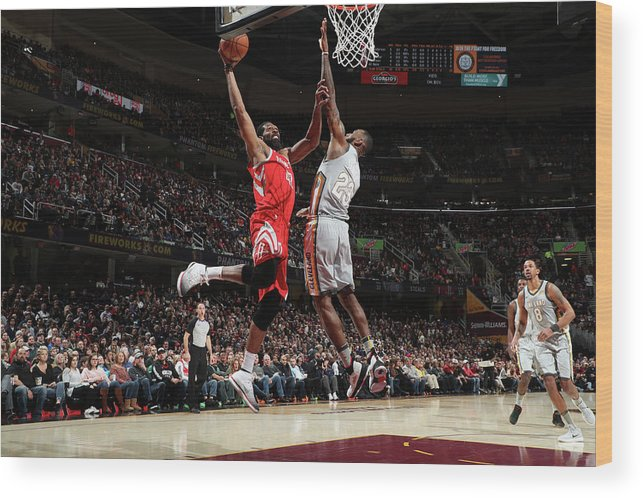Nba Pro Basketball Wood Print featuring the photograph Nene Hilario and Lebron James by Joe Murphy