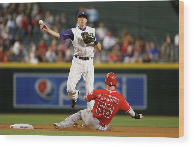 Double Play Wood Print featuring the photograph Nick Ahmed and Kole Calhoun by Christian Petersen