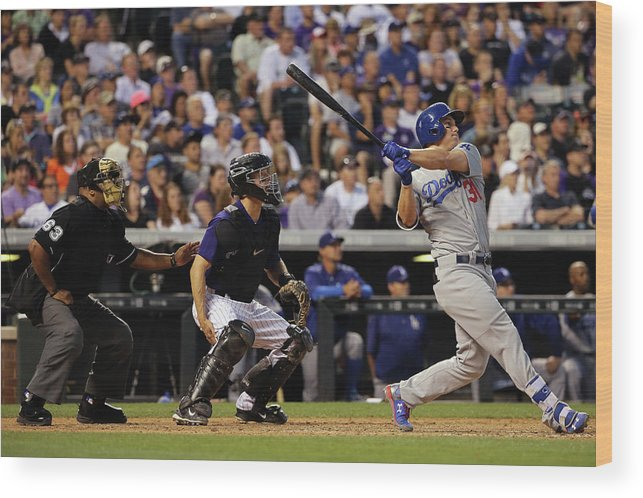 Baseball Catcher Wood Print featuring the photograph Nick Hundley and Joc Pederson by Doug Pensinger