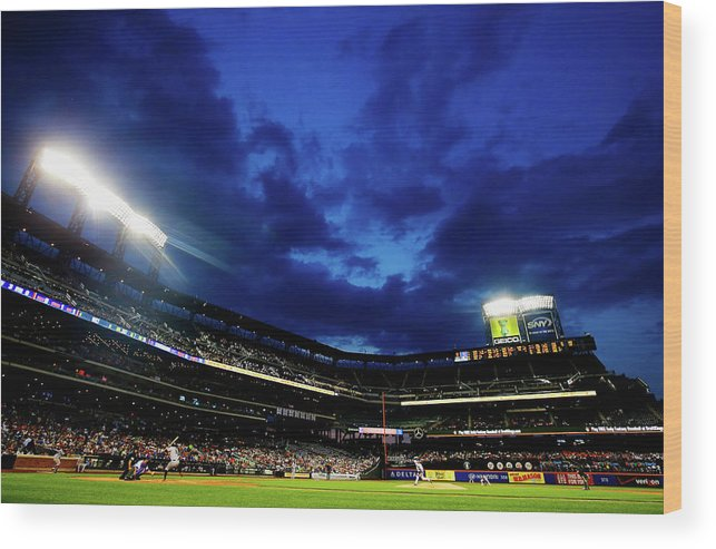 People Wood Print featuring the photograph Noah Syndergaard and Brandon Belt by Al Bello