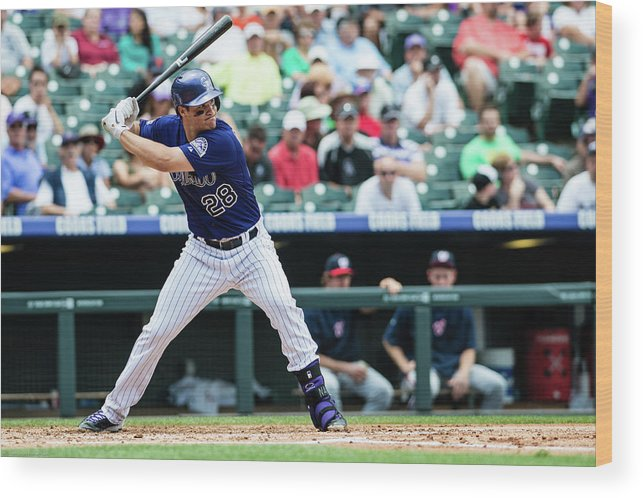 Motion Wood Print featuring the photograph Nolan Arenado by Peter Lockley
