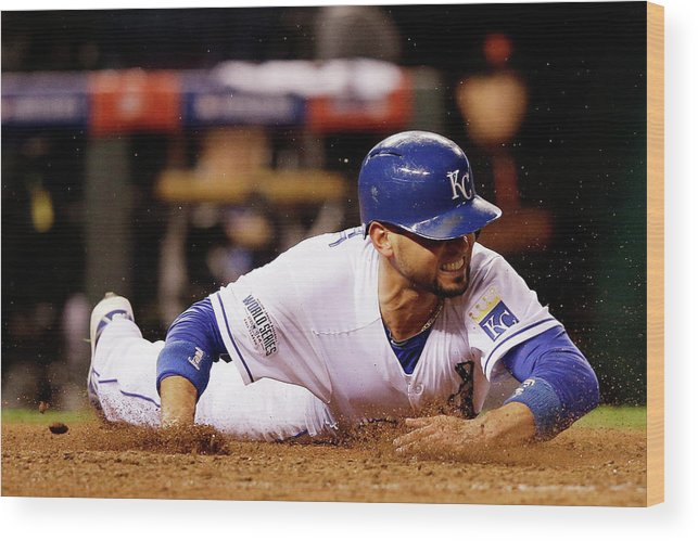 People Wood Print featuring the photograph Omar Infante and Alcides Escobar by Ezra Shaw