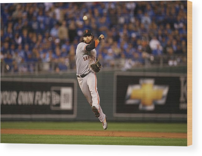 Playoffs Wood Print featuring the photograph Omar Infante and Brandon Crawford by Brad Mangin
