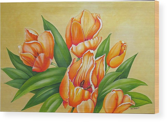 Tulips Wood Print featuring the painting One's Nearer God's Heart in the Garden by Carol Sabo