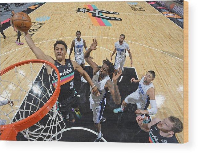 Keldon Johnson Wood Print featuring the photograph Orlando Magic vs. San Antonio Spurs by Logan Riely
