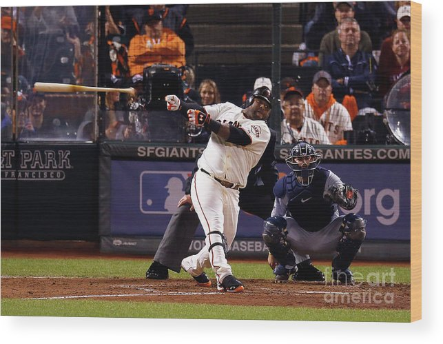 San Francisco Wood Print featuring the photograph Pablo Sandoval and Al Alburquerque by Jason O. Watson