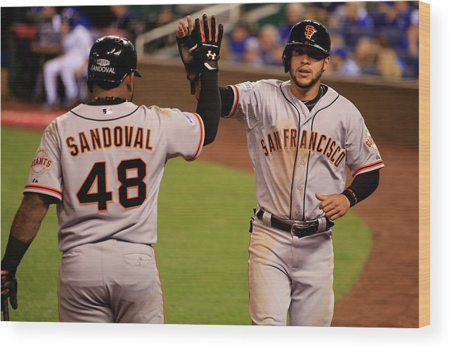 People Wood Print featuring the photograph Pablo Sandoval and Gregor Blanco by Jamie Squire