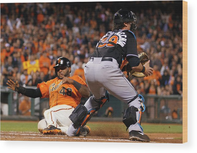 San Francisco Wood Print featuring the photograph Pablo Sandoval and Jarrod Saltalamacchia by Jason O. Watson