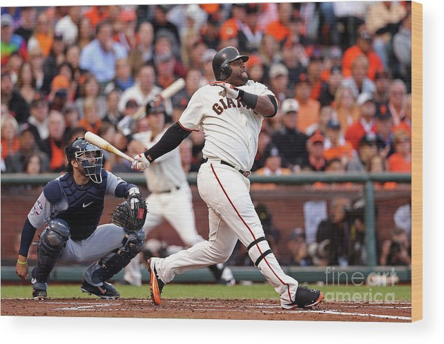 San Francisco Wood Print featuring the photograph Pablo Sandoval and Justin Verlander by Christian Petersen