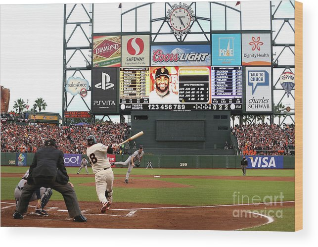 Viewpoint Wood Print featuring the photograph Pablo Sandoval and Justin Verlander by Ezra Shaw
