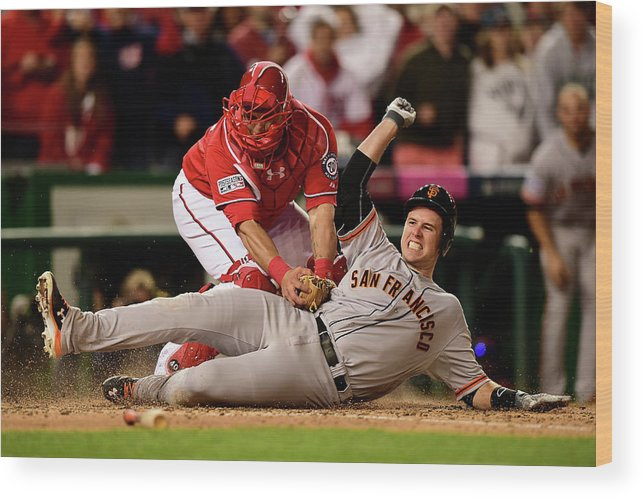 Game Two Wood Print featuring the photograph Pablo Sandoval, Wilson Ramos, and Buster Posey by Patrick Smith
